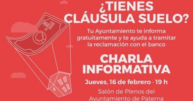 Ayuntamiento de Paterna organizará charla sobre cláusulas suelo
